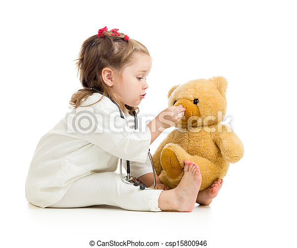 child girl playing doctor with toy - csp15800946