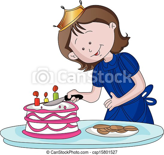 Cake Knife Clipart : Vector Illustration of Vector of cute girl cutting cake ...