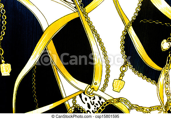 Gold chain looped heart pattern.For art texture or web design and background. - csp15801595