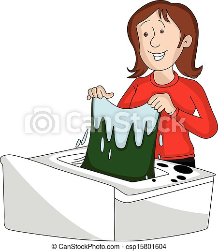 Vector Clipart of Vector of woman doing laundry. - Vector ...