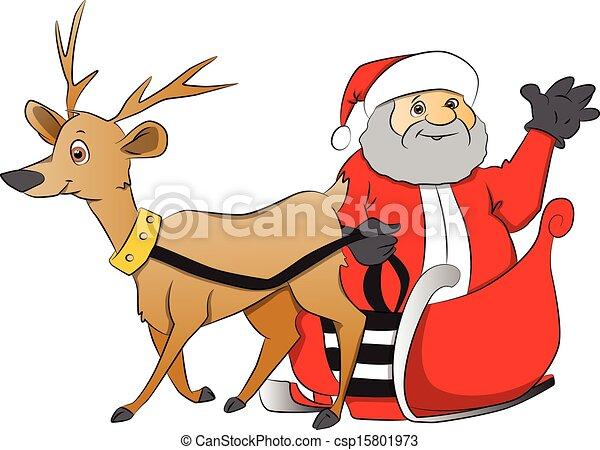 Vectors Illustration of Vector of santa claus waving from reindeer ...