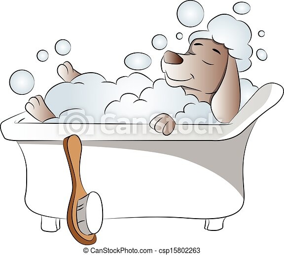 Picture Of A Big Dog Taking A Bath Clipart
