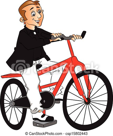 EPS Vector of Vector of man riding bicycle. - Vector ...