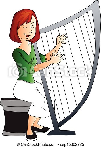 Vector Illustration of Vector of woman playing harp ...
