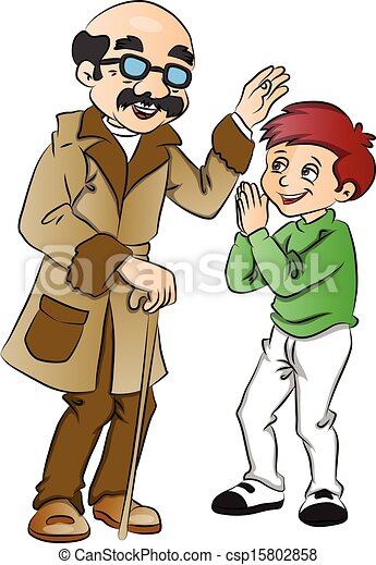 Clipart Vector of Vector of happy old man blessing a boy ...