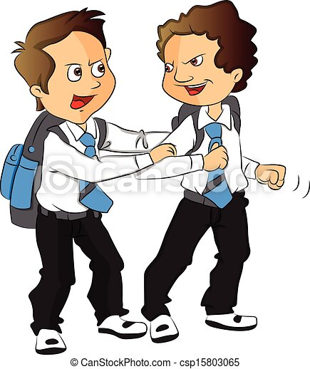 Clip Art Vector of Vector of schoolboys fighting. - Vector ...