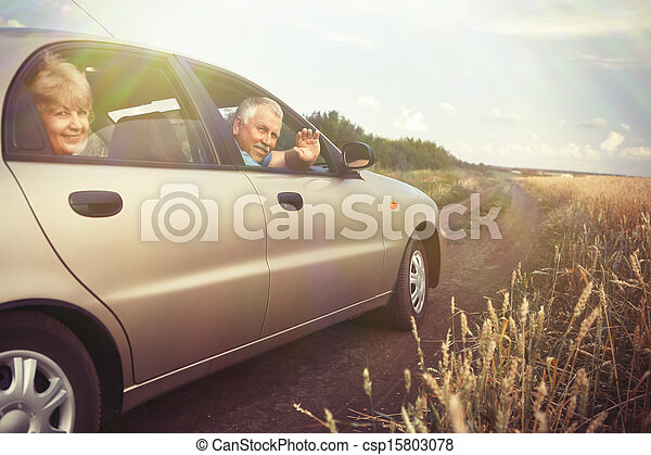 Two elderly people in car - csp15803078