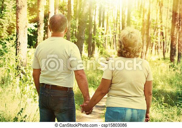 Senior couple in park. - csp15803086