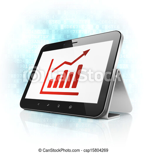 Business concept: Growth Graph on tablet pc computer - csp15804269