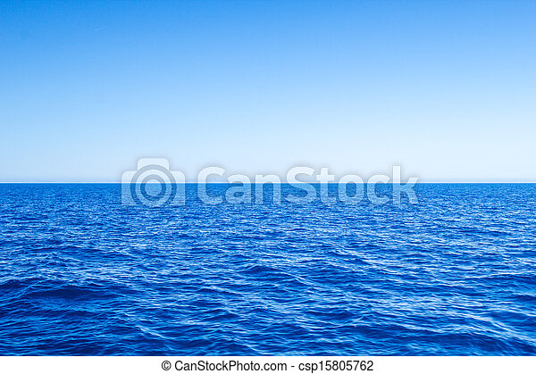 Mediterranean Sea blue seascape with clear horizon line and sky. - csp15805762