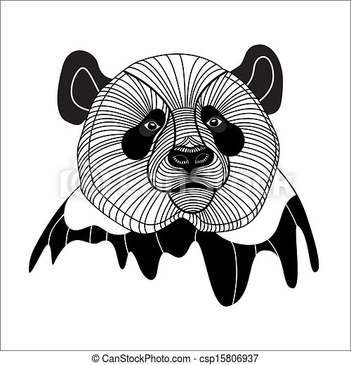 Bear panda head animal symbol for mascot or emblem design, vector illustration for t-shirt. - csp15806937