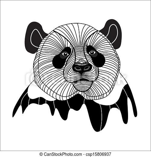 Bear panda head animal symbol for mascot or emblem design, vector illustration for t-shirt. - csp15806937