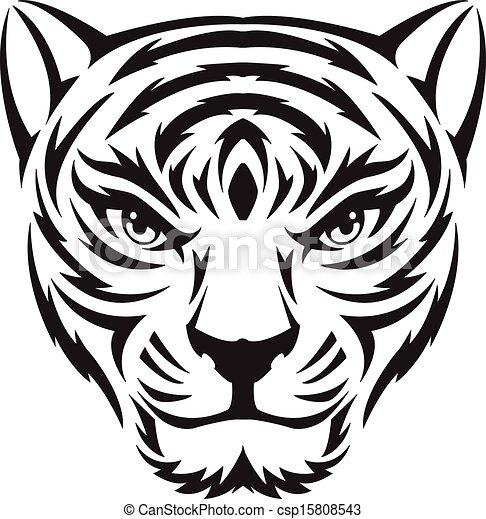 EPS vector de tigre, cara, tatuaje, vendimia, Grabado - tigre ...