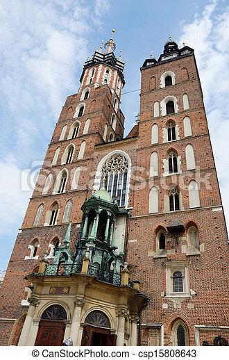 Mariacki Church - famous gothic church Krakow  - csp15808643