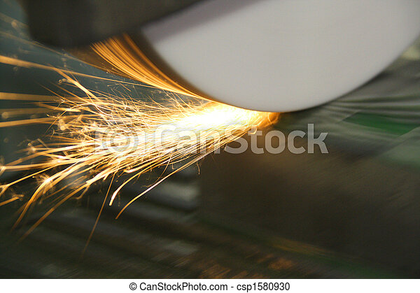 Sparks from Grinder on Die