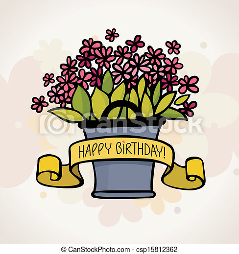 birthday card with flower - csp15812362
