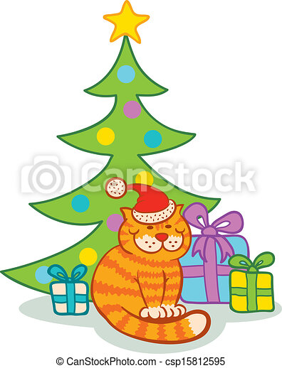 EPS Vectors of Cat and christmas tree - Cat and presents under the ...