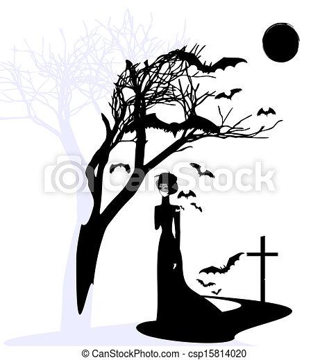 Illustration Vecteur De Noir Gothique Dame Noir Et