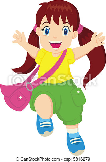 Vectors Illustration of Happy Little Girl - Cartoon ...