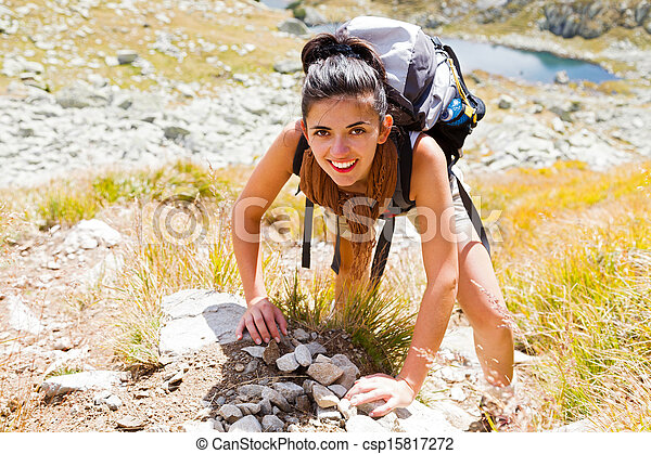 Woman Climbing Mountain - csp15817272