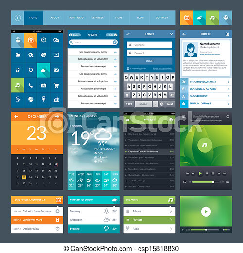 Set of flat design ui elements - csp15818830