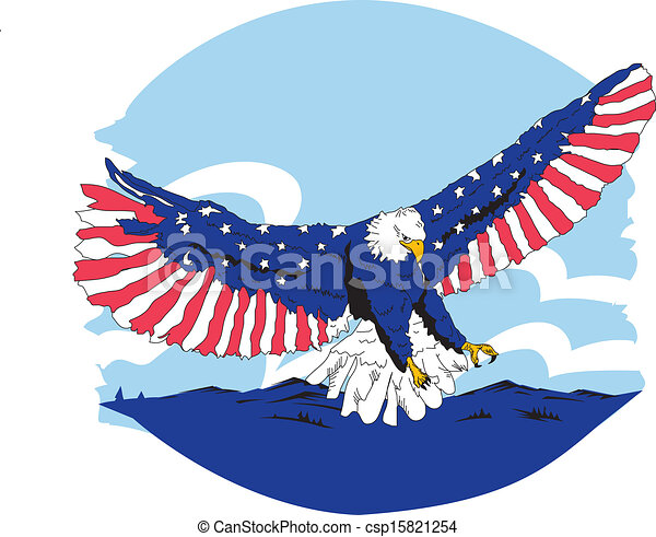 Clipart Vector of Red White & Blue American Eagle - Wing Spread ...