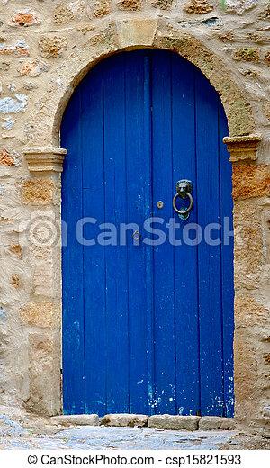 Blue door in Greece
