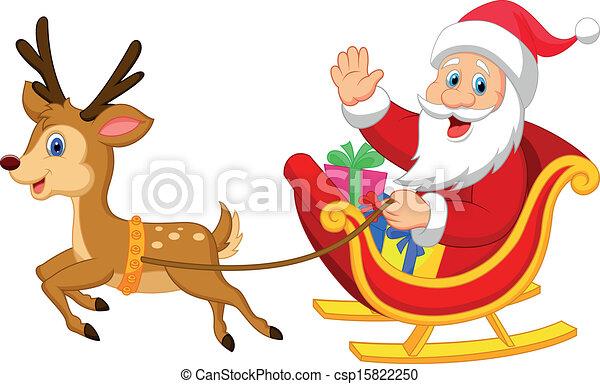 Clipart Vector of Cartoon Santa drives his sleigh - Vector ...