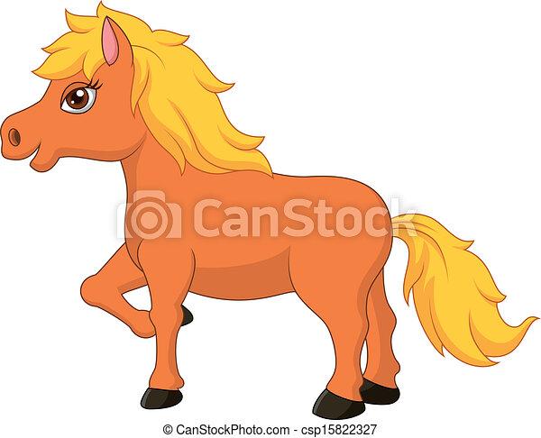 Illustration vecteur de mignon cheval poney dessin anim vecteur illustration - Dessin anime avec des poneys ...