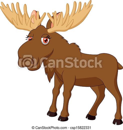 Cute moose cartoon - V...