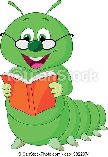 vectors illustration of cartoon caterpillar reading book   vector illustration of csp15822374