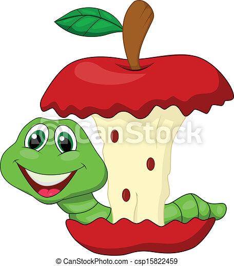 Vecteur clipart de ver manger rouges pomme dessin anim vecteur csp15822459 - Dessin manger ...