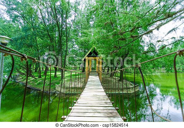 Wood Bridges at Gelora Park, Kuantan - csp15824514