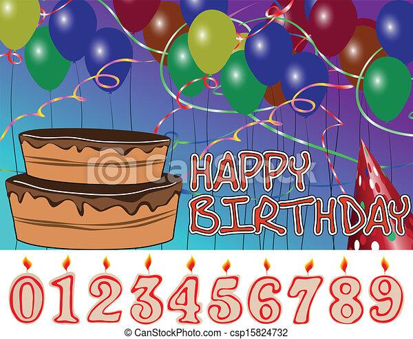 Vectors Of Happy Birthday Party Scene With Ballons