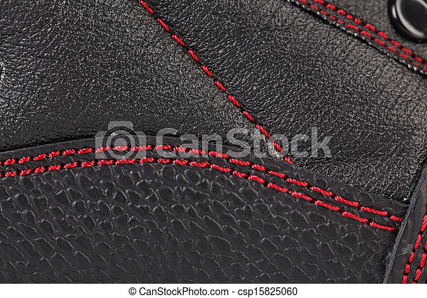 Background of leather stitches detail. - csp15825060