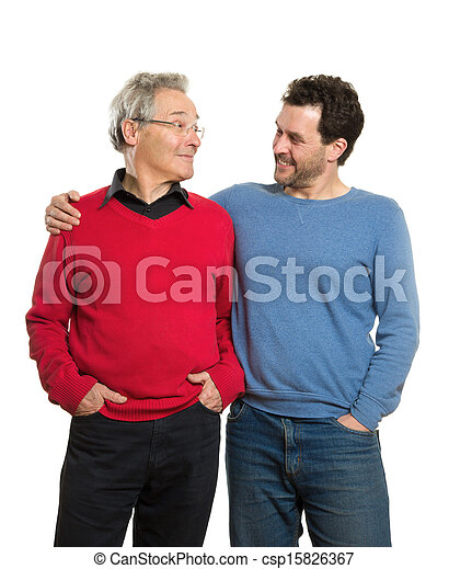 Senior and mature adult, two generations portrait - csp15826367