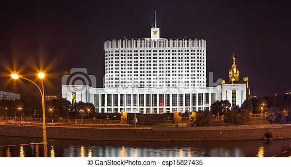 "House of Government in Moscow, Russia, at night. Inscription on the facade means ""House of the Government of the Russian Federation"" - csp15827435"