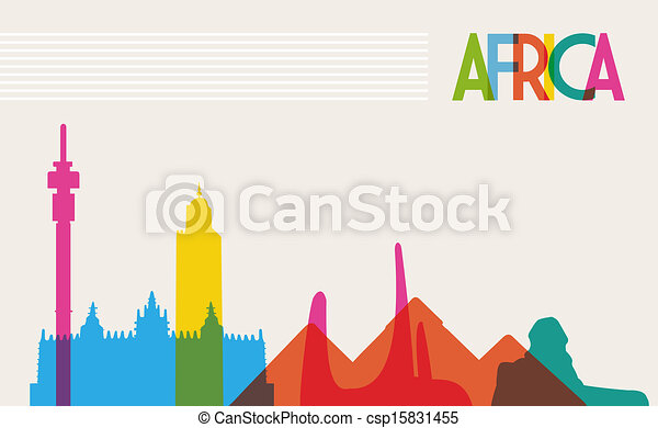 Diversity monuments of Africa, famous landmark colors transparency. Vector file organized in layers for easy editing. - csp15831455