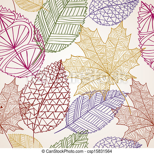 Vintage autumn leaves seamless pattern background. EPS10 file. - csp15831564
