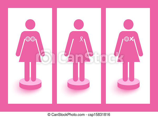 Women figures with ribbons and symbols breast cancer awareness and prevention campaign. EPS10 vector file organized in layers for easy editing. - csp15831816