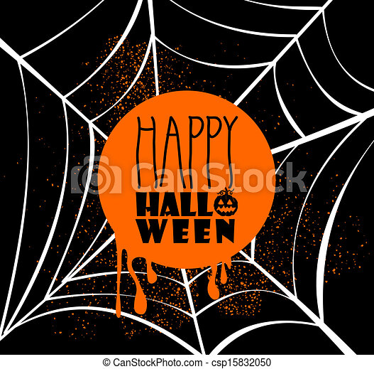 Happy Halloween pumpkin lantern and text inside orange circle over spider web banner with grunge background. EPS10 Vector file organized in layers for easy editing. - csp15832050