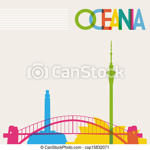 Diversity monuments of Oceania, famous landmarks colors transparency. Vector file organized in layers for easy editing. - csp15832071
