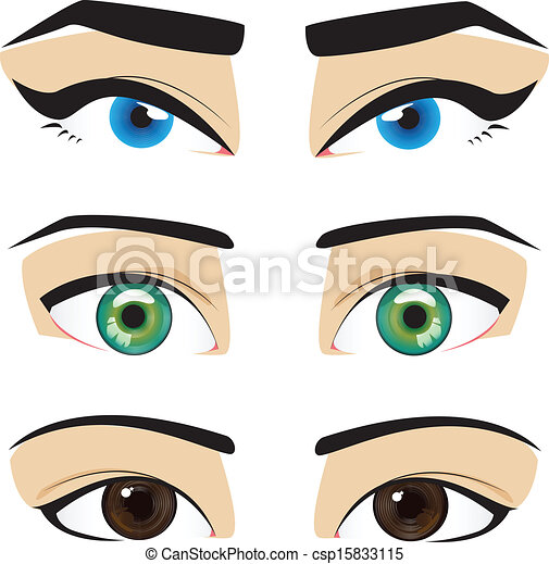 Eyes Blue Drawing Vector Blue Green Brown Eyes