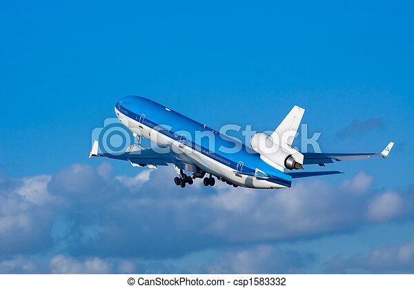 airplane on takeoff  - csp1583332