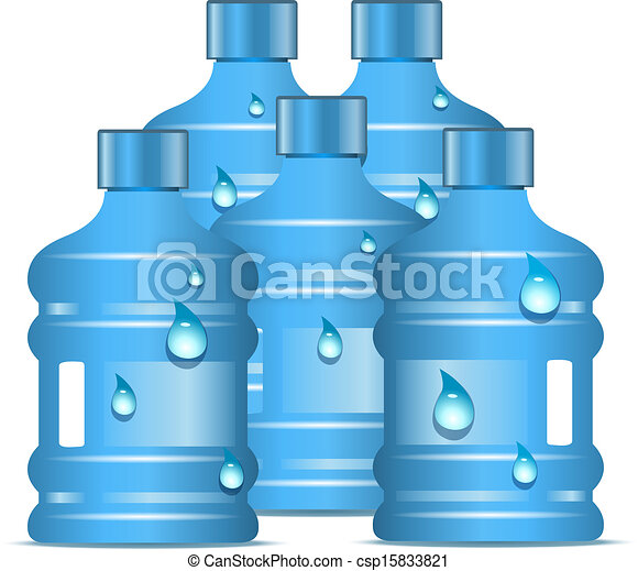 Vector Illustration of Plastic bottles with clean drinking water ...