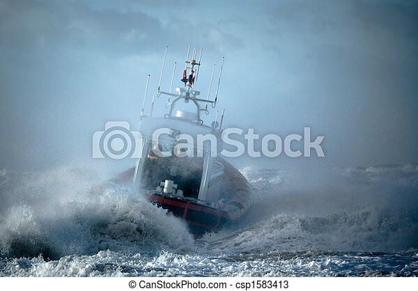 coast guard during storm - csp1583413