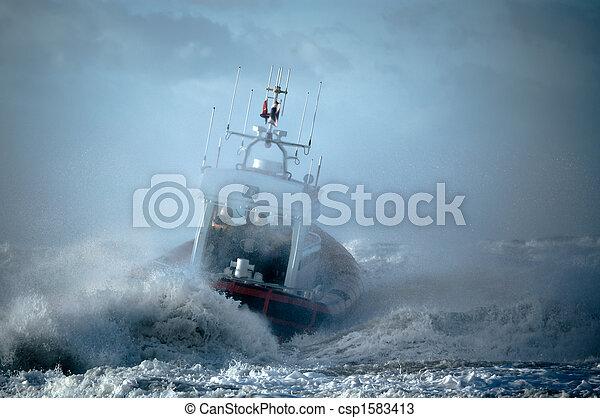 coast guard during storm - csp1583413