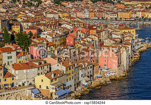 Aerial shoot of Rovinj, Croatia - csp15834244