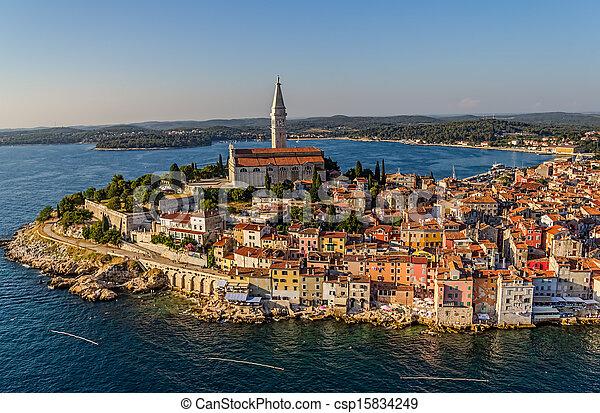 Aerial shoot of Rovinj, Croatia - csp15834249