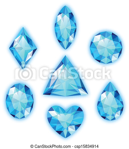 Vector Clip Art of Set of blue gems isolated on white ...